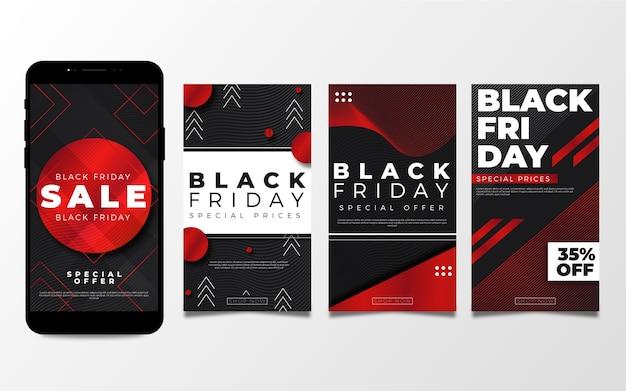 フラットなデザインの黒い金曜日のinstagramストーリー