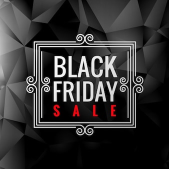 Black friday label in low poly background