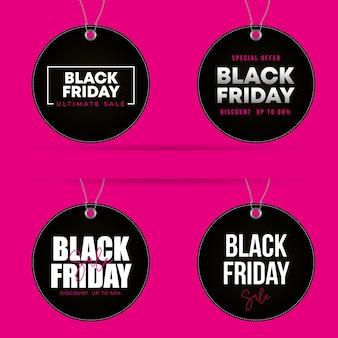 Черная пятница этикетки круглой формы со скидками на розовом фоне