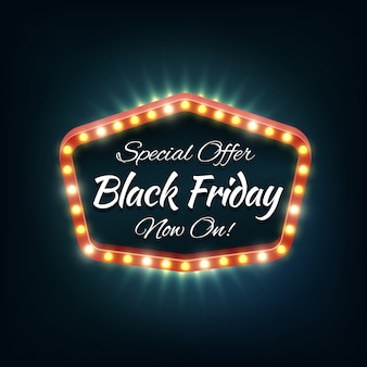 Black friday light frame, retro banner