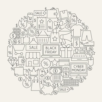 ブラックフライデーラインアイコンサークル。サイバーマンデーセールアウトラインオブジェクトのベクトルイラスト。