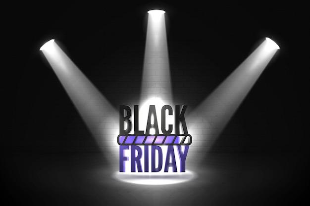Black friday loading realistic vector banner template. three spotlight rays illuminating seasonal mega sale offer. big discounts anticipation with progress bar for stylish poster design