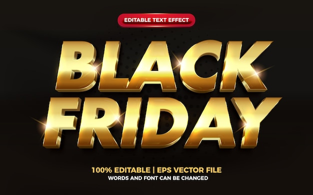 Black friday luxury gold elegant 3d editable text effect