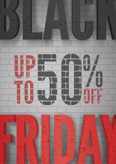Черная пятница мега распродажа объявление реалистичный вектор плакат шаблон. скидка 50%. специальные предложения по продвижению черно-красной типографии. сезонные цены снижают современный дизайн рекламы