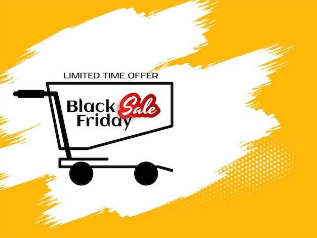 Black friday mega sale offer yellow background vector