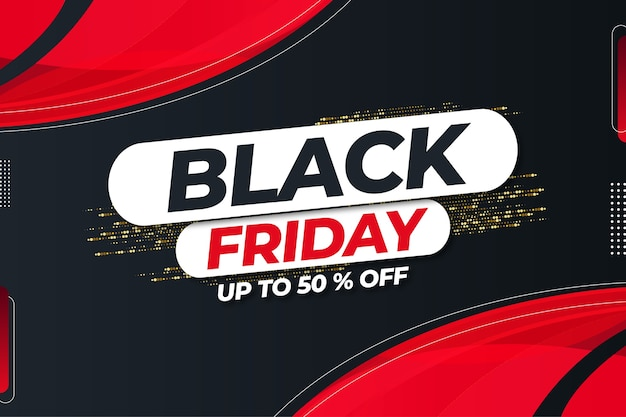 Black friday mega sale up to 50% off with abstract shapes design template