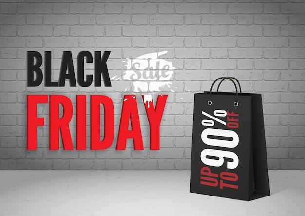 검은 금요일 메가 판매 벡터 배너 템플릿입니다. 현실적인 쇼핑백 90% 할인 제공. 벽돌 벽에 흰색 페인트 얼룩이 있는 검정 및 빨강 비문. 큰 판매 포스터 디자인 레이아웃