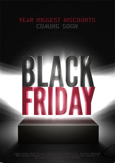 Black friday mega sale vector poster template. bright limelight beams illuminating biggest shopping event 3d inscription. discounts offer advert with text space. sale coming soon banner design