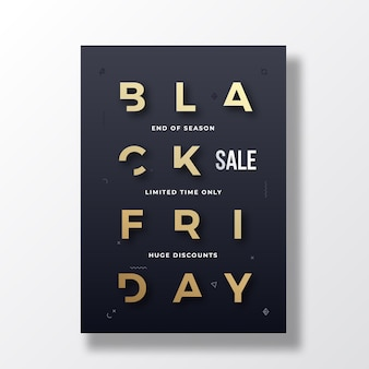 Black friday minimalist typography banner, poster or flayer template.