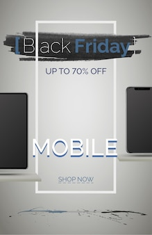 Black friday mobile phone sale banner vector template. seasonal discount poster. smartphones shopping with price reduction. up to 70 percent off. special offer advertisement. online shop landing page