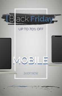 검은 금요일 휴대 전화 판매 배너 벡터 템플릿입니다. 계절 할인 포스터입니다. 가격 인하와 함께 스마트폰 쇼핑. 최대 70% 할인. 특별 제안 광고. 온라인 쇼핑몰 랜딩페이지