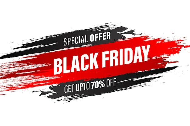 Black friday modern background sale with abstract brush stroke on white background