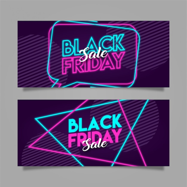 Black friday neon banner poster
