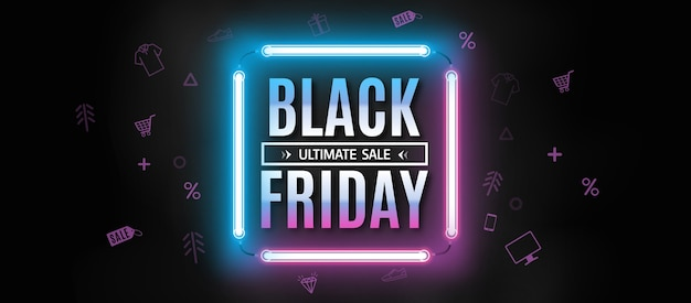 Black friday neon banner template