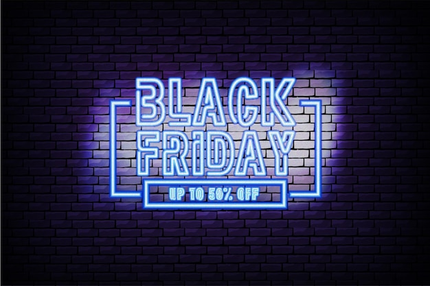 Black friday neon banner with brick wall background