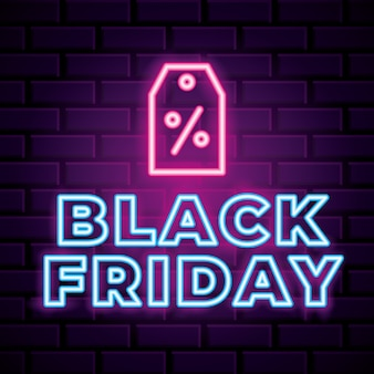Black friday neon banner with label icon over brick wall background