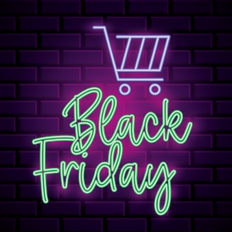 Black friday neon banner with market car over brick wall background