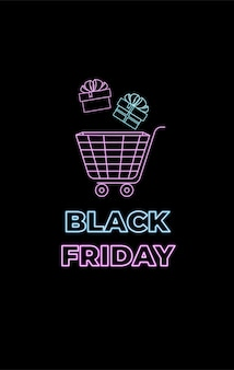 Black friday neon cart for shopping with boxes of gifts design for discount voucher banner and sales