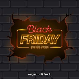 Black friday in neon design
