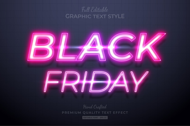 Black friday neon editable text style effect