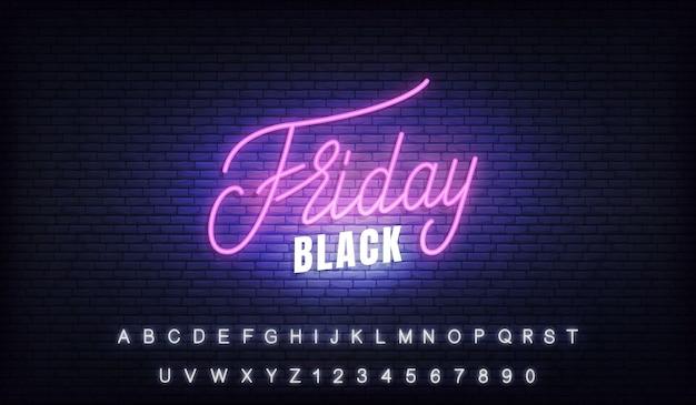 Черная пятница неоновая. светящиеся буквы знак f