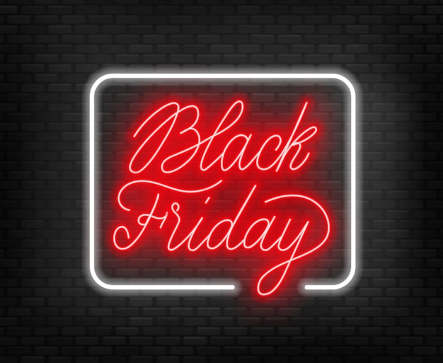 Black friday neon lettering on brick wall background.