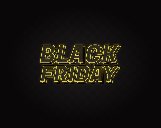 Black friday neon lettering with black pattern in backgroung