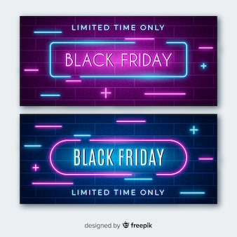 Black friday neon light banners with plus and minus signs