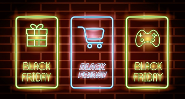 Black friday neon lights labels with icons