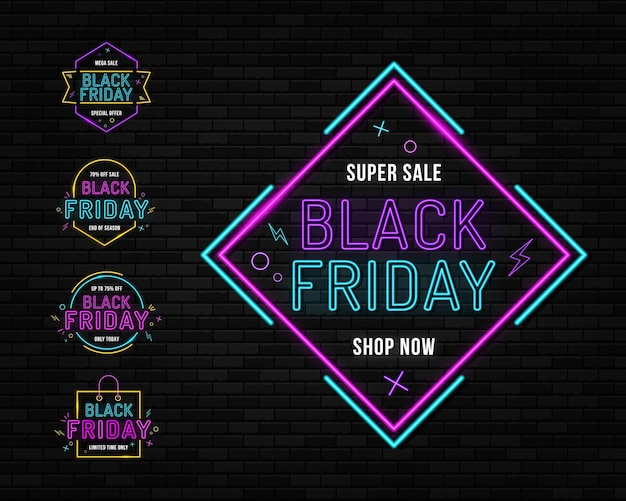 Black friday neon sign on the brick wall bright signage neon black friday signboard