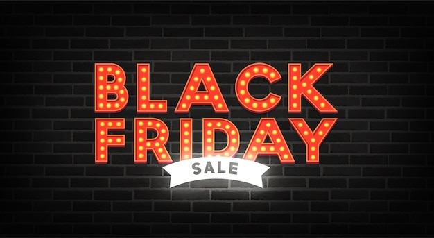 Black friday neon sign. sale banner. neon sign, bright signboard, light banner