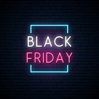 Black friday neon signboard.