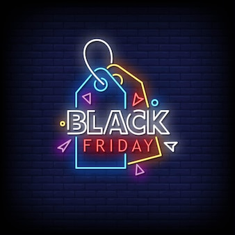 Black friday neon signs style text