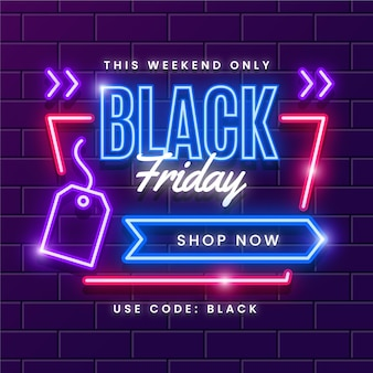 Black friday in neon style