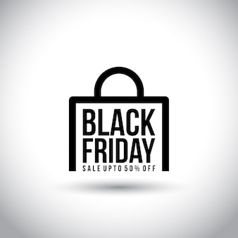 Black friday. new simple typography on abstract shopping bag on white background.