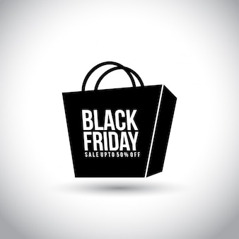 Black friday. new simple typography on a shopping bag on white background.