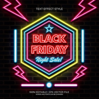 Black friday night sale banner with neon text effects