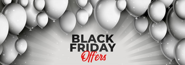 Black friday offer and sale banner with balloons