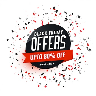 Black friday offers banner with confetti design