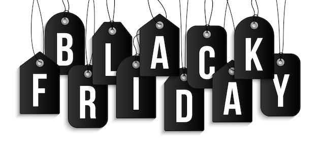 値札のブラックフライデー。白い背景の装飾とカバーのためのブラックフライデーセールのための現実的な空白の値札クーポンのセット。