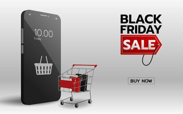 Черная пятница интернет-магазин на мобильном телефоне со стопкой сумок в корзине и символом корзины на телефоне. всемирная торговля, соединяющая концепцию бизнес-технологий.