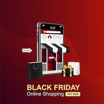 モバイル上の黒い金曜日オンラインショッピングバナー