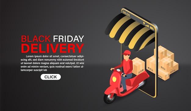 Черная пятница экспресс-доставка покупок по интернету на самокате с иллюстрацией. изометрический плоский дизайн.