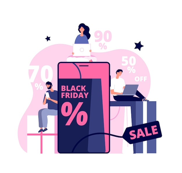 Black friday online. shopping man girl, people buying on super discount. ecommerce, shop in tablet and package delivery vector concept. shop online service, promo purchase marketing illustration