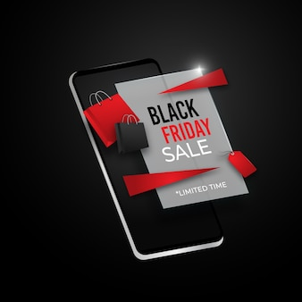 Black friday online shopping sale on 3d mobile phone concept
