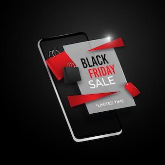 Черная пятница онлайн-распродажа на концепции мобильного телефона 3d