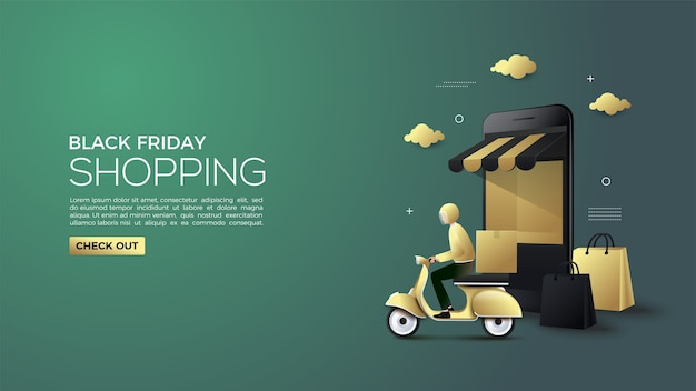 Black friday online shopping with 3d online courier and shop illustration
