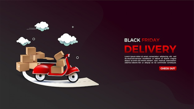 Black friday online shopping with an illustration of a delivery of goods.