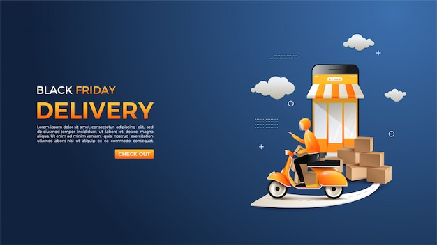 Black friday online shopping with illustration of people sending goods.
