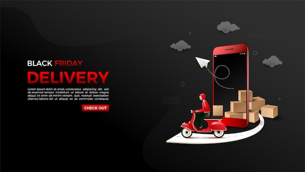 Black friday online shopping with illustrations of 3d smartphones and motorbikes.